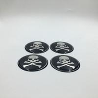 Wholesale Car Skull Emblems - 4PCS lot 65mm Wheel Center Cap Emblem Sticker Skull Head Car Styling Hub Cap Badge Decals