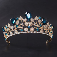 Wholesale Gold Prom Hair Accessories - Gold Color Classic Blue Wedding Hair Accessories Leaf Crystal Rhinestone Prom Crown Bridal Pageant Tiaras Hair Jewelry