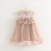 Wholesale Korean Style For Winter - Hug Me Girls Princess Dress for Kids Clothes 2016 Summer Flowers Lace Tutu Dress Korean Fashion Sleeveless Cotton Girls Party Dress MK-443