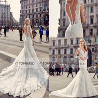 Wholesale long sleeved mermaid wedding dresses - Eddy K 2017 Vintage Long Sleeved Mermaid Wedding Dresses with Deep Plunging V Neckline Fit and Flare Plus Size Bridal Gowns Brides Wear