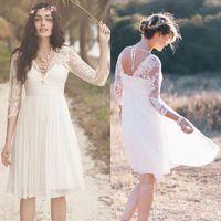 Wholesale Knee Long Fairy Dress - New Fairy Short Beach Wedding Dresses 2016 V Neck 3 4 Long Sleeve Backless Knee Length Bohemian Bridal Gowns Vestidos De Noiva Cheap
