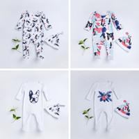 bebek şapkaları çiçekleri toptan satış-Köpekler Çiçek Baskı Romper Iki parça Giysi Setleri Sonbahar Yenidoğan Bebek Bebek Sarı Uzun Kollu Tulum + Şapka Kıyafet 2 adet