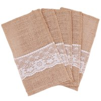Wholesale Drop shipping Natural Jute Lace Pockets Rustic Wedding Tableware Packaging Fork Knife Burlap Holder Cutlery Pocket