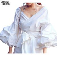 Wholesale Elegant Ruffled Blouses - Women White Ruffles Blouse Shirts Fashion Puff Sleeve V Neck Ladies Elegant Tops Clothing Tops Female Clothes Blouses Shirt with Bow Tie