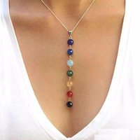 Wholesale Womens Silver Heart Necklace - 2016 New Fashion 7 Chakra Beads Pendant Necklace Yoga Reiki Healing Balancing Necklace Beautiful Gift for Girls Womens cc