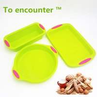 Wholesale Eco Cake Packaging - To Encounter Square Quadrate Shape Round Shape Silicone Baking Cake Mold Diy Toast Bread Pans Tiramisu Dishes Tray 3 In Package