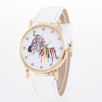 Wholesale Geneva Zebra Watches - 2016 belt Geneva quartz watch fashion color super thin zebra dial male Ladies Watch
