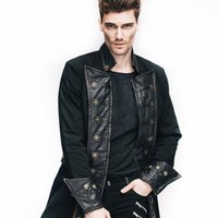 Wholesale Visual Kei - Wholesale- Brand Steampunk Mens Casual Winter Jacket Visual Kei Black Long Sleeve Coat Gothic Clothing Man Leather Spliced Jackets Coats