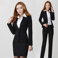 Wholesale Woman Business Pants Suits - Promotion! Now Get One Shirt Free! Fashion High Quality Slim Lady Career Suits,Women Work Clothes,Business Suits,Fashion Suits For Girls