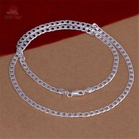 Wholesale Silver Chain Sellers - Wholesale- Hot Seller Special Geometric Shape Silver Plated 24 Inches Male Chains Necklaces Classic Trendy Cool Valentine Gift SHAG260