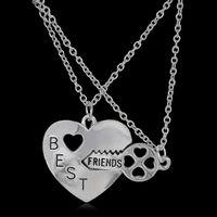 Wholesale Gold Couple Necklaces - Letter Best Friend Friendship Heart Key Silver Necklace Pendant Couple BFF Alloy Necklace Jewelry Pendant Necklaces Fashion Womens Chain