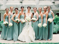 Wholesale Mint Chiffon Maternity Dress - Luxury Cheap Mint Long Sweetheart Bridesmaid Dress Chiffon Lace Up Maternity Aqua Sage Custom Made Wedding Party Maid Of Honor Dresses