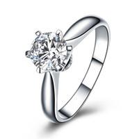 ingrosso nscd diamanti simulati-Hearts and Arrows 6 poli incastonati 1 Ct NSCD Simulated Diamond Engagement Fedi nuziali per donna
