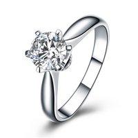 nscd simüle edilmiş elmaslar toptan satış-Kalpler ve Oklar 6 çatal ayar 1 Ct NSCD Simüle Elmas Nişan Alyans kadınlar için