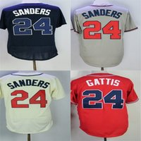 Wholesale Quality Outlet - Factory Outlet Atlanta 24 Deion Sanders White Blue Cream Red Cool Base Flex Base Stitched Best Quality Cheap Baseball Jerseys Size XS-6XL