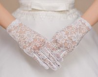 Wholesale Full Length Rings - 2017 Hot sell New style white lace full finger short gloves Bridal gloves Wedding accessories yzs168