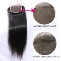 Wholesale Brazilian Straight Closures - Brazilian Lace Closure 4x4 Straight Hair Lace Closure with Baby Hair Free Part 100% Human Hair Closure Natural Color Grade 7A 8A 9A