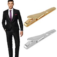 Wholesale Wholesale Tie Clasps - 1pc Fashion Simple Men Necktie Tie Bar Clasp Clip Silver Golden Wedding Gift Brand new and