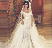 Wholesale mermaid detachable wedding dresses - Vintage Overskirts Wedding Dresses Train Off Shoulder Sash Mermaid Lace Wedding Dress With Detachable Tulle Train Count Train Bridal Gowns