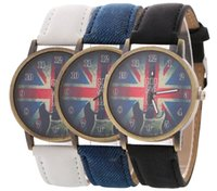 Wholesale Queen Flag - NEW fashion women leather UK flag GOD SAVE THE QUEEN watch wholesale casual ladies cowboy retro dress quartz watches