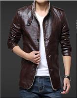 Wholesale Velvet Collar Jacket Wholesale - 2017 New Spring Autumn Wholesale- Fashion clothing PU Leather Jackets velvet inside Classic Style slim Free shipping B545