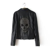 Wholesale Ladies Skull Jackets - Ladies Skull Rivet Bomber Jacket Autumn & Spring 2016 Fashion Brand PU Leather Motorcycle Jackets Punk Style Jaqueta Couro