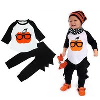 Wholesale Wholesale Birthday Clothes For Children - Halloween Baby Boy Cosplay Set Clothes 2016 New Autumn Birthday Outfit For Kid Children Pumpkin Pattern Shirt Top+Harem Pant Suit Tracksuit