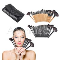 Wholesale makeup tool roll - 32pcs Makeup Brushes Cosmetic Makeup Brush Set Wood Hand Artificial Fiber Makeup Tools with Black Roll Up Case Eyeliner Eyeshadow