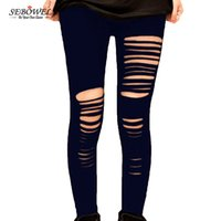 Wholesale Punk Leggins - Basic Strech Black Leggings Holes Ripped Leggings Punk Rock Fashion Women Leggins Casual Jeggings Dancing Pant