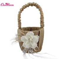 Wholesale Natural Baskets - Natural Jute Burlap Hessian Ribbon Lace Wedding Flower Basket Flower Girl Basket with Rhinestones Wedding Decoration Supplies <$16 no tracki