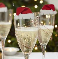 şarap partisi malzemeleri toptan satış-Şenlikli Parti Ev Bahçe Malzemeleri Masa Yer Kartları Noel Santa Şapka Şarap Cam Dekorasyon