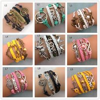 Wholesale Bronze Cross Antique - 75 styles Infinite Charm Bracelets multilayer woven leather bracelets Antique Cross Anchor Love Peach Knitting bronze diy charm bracelets