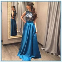 Wholesale Ocean Blue Gowns - Conservative Satin Long Mother of Bride Groom Dresses A Line Cap Sleeves Jewel Neck Appliques Ocean Blue Formal Evening Gowns Mother Dress