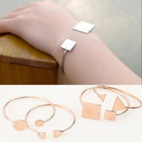 square braclet - Linnor Styles Simple Round Square Triangle Heart Charm Open Bangle Bracelet Rose Gold Alloy Silver Metal Braclet Female Gift