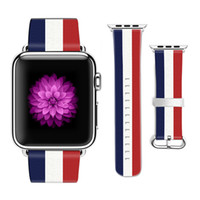 cm iphone venda por atacado-Original designer bandeira nacional estilo pulseira de couro para a apple watch band 38mm 42mm de couro para a pulseira de iwatch presentes para o caso do iphone