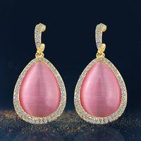 Wholesale Big Fashionable Earrings - 2016 new design fashionable joker Female south Korean big water drop opal earrings earrings fashion jewelry wholesale