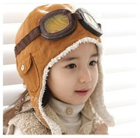 Wholesale Baby Girl Cute Hats - 2016 Hot Kid Winter Pilot Aviator Earflap Caps Beanie Warm Hats Cute Baby Toddler Boy Girl Kids Airforce flight earflap plush beanie