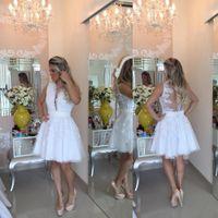 ingrosso vestito semi sexy-Sexy Perle bianche Abiti Homecoming 2017 Applique Pizzo Tulle Breve Vestito da promenade Semi Abiti formali Abiti da laurea di laurea 8 ° Partito