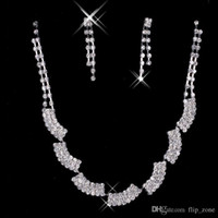 Wholesale Elegant Women Accessories - In Stock New Earrings Necklace Jewelry Sets Cheap Fashionable Women Elegant Rhinestone Shining Evening Prom Occasion Accessories 15050