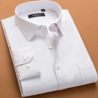 vestuário com preço de fábrica venda por atacado-Plus Size 6xl Camisa de Vestido Dos Homens Branco Rosa Verde Manga Longa Moda Homem Camisas Soltas Macio Camisas de Negócios Homens Roupas Preço de Fábrica