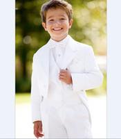 Wholesale New Black Tuxedo Boy S - Wholesale- 2017 New Arrival Boy Tuxedos Notch Lapel Children Suits Sets Black White Kid Wedding Prom Suits ( Jacket+Vest+Pants+Bow)