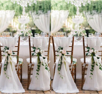 Wholesale Cheap White Wedding Chair Covers - 2016 New Designer 6 lots Chair Sashes Wedding Accessory Cheap Wedding Supplies Wedding Decoration Ruffles Chiffon Chair Covers
