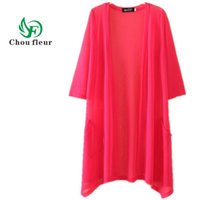 Wholesale Woman Sweaters Cardigan Summer - Wholesale- Chou fleur Long Cardigan Female Thin Summer Sweater Conditioning Gauze Silk Coat Plus L-4XL Size