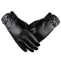 Wholesale Gloves Drive - Mens Touchscreen Winter Driving PU Leather Gloves Warm Soft Thick Fleece Lining Windproof Water-resistant Cold Weather Biking Outdoor