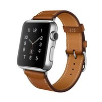 Wholesale Rubber Bands Single - Brown Genuine Leather Band Single Tour Bracelet Watchband   Strap For Apple iWatch 38MM 42MM
