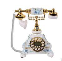 Wholesale Old Antique Telephones - new type field European-style telephone European style rural fashion new antique phone to show blue screen decoration old-fashioned table cu