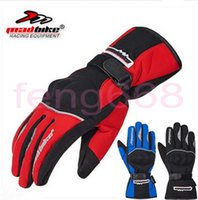 Wholesale Bicycle Winter Gloves Waterproof - 2016 New MAD-BIKE Waterproof Motorcycle Gloves Electric Bicycle Racing Full Finger Glove Winter warm Windproof black blue red color MAD-13