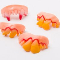 Wholesale Funny Teeth Jokes - Joke Teeth False Teeth Rotten April Fool's Day Funny Fake Teeth Dentures Halloween Prop Costume Fancy Dress Party
