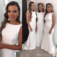 Wholesale girls vintage bridesmaid dresses - 2017 Mermaid White Satin Long Plus Size Cheap Vintage Party Girls Bridesmaid Dresses Custom Made Prom Dresses