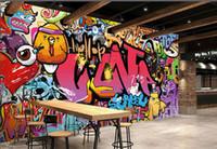 tamanho do papel de parede venda por atacado-Modern Creative Art Graffiti Mural Papel De Parede para Sala de Crianças Sala de estar Decoração de Casa Tamanho Personalizado 3D Papel De Parede Não-tecido
